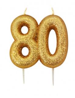 Kuchen Kerze 80. Geburtstag Gold Glitzer