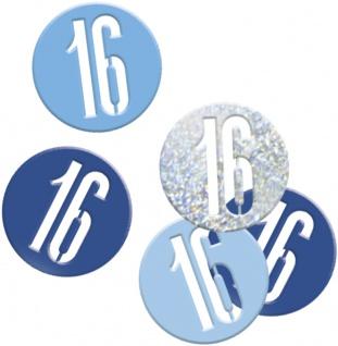 Deko Konfetti Blue Dots Glitzer zum 16. Geburtstag