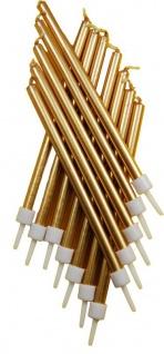 12 lange Kerzen Metallic Gold