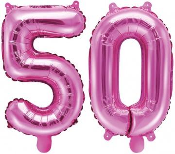 Folienballons Zahl 50 Pink Metallic 35 cm