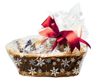 6 Zellophan Tüten für Geschenkkörbe mit Verschlüssen Schneekristalle