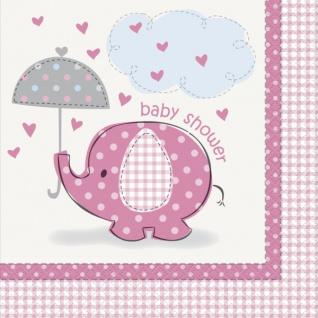 16 Servietten Baby Elefant rosa