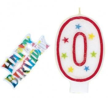 Zahlenkerze 0 Rot mit bunten Sternen und Happy Birthday Stecker