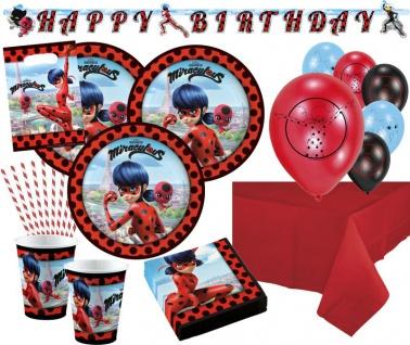 XL 62 Teile Miraculous Ladybug und Cat Noir Party Deko Set 8 Kinder - Vorschau 1