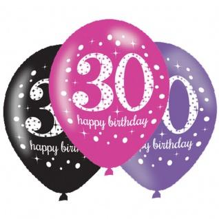 6 Luftballons Pink und Schwarz 30. Geburtstag