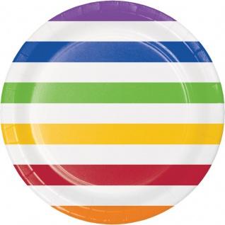 8 bunte Papp Teller Punkte und Streifen Regenbogen