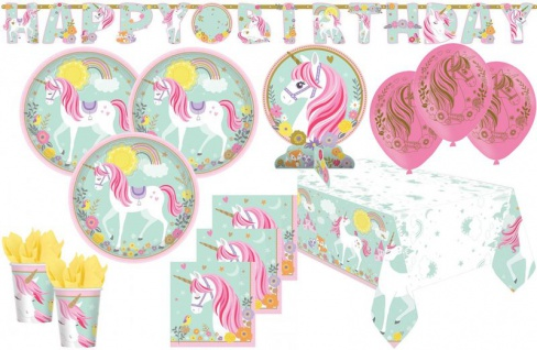 XL 41 Teile magisches Einhorn in Pastell Farben Party Deko Set für 8 Kinder