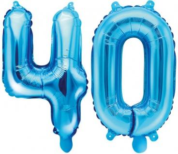 Folienballons Zahl 40 Blau Metallic 35 cm