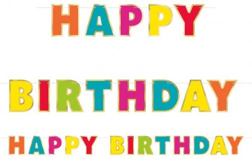 bunte Geburtstags Girlande Happy Birthday mit Goldrand