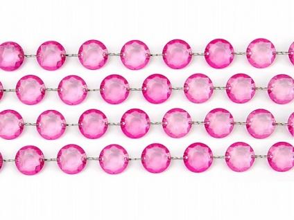 1m Plastik Kristall Girlande pink - 18mm Durchmesser