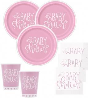 32 Teile Baby Shower Herzchen in Rosa Party Deko Set für 8 Personen