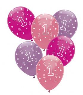 24 Luftballons Erster Geburtstag Rosa Violett und Pink