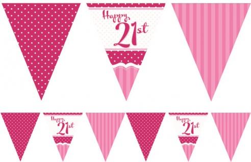 Papier Wimpel Girlande Perfectly Pink zum 21. Geburtstag