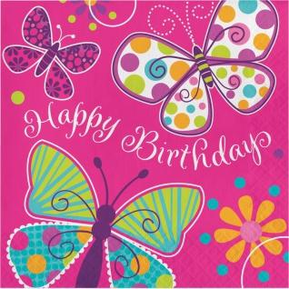 32 Teile Schmetterling in Pink Geburtstags Deko Set für 8 Personen - Vorschau 4