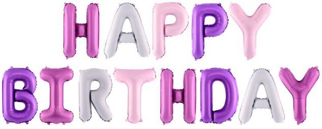 XXL DIY Happy Birthday Buchstaben Ballon Girlande Rosa Pink und Violett 3, 4 Meter lang