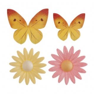 8 Teile Blumenwiesen Set essbare Oblaten bunte Schmetterlinge und Blumen