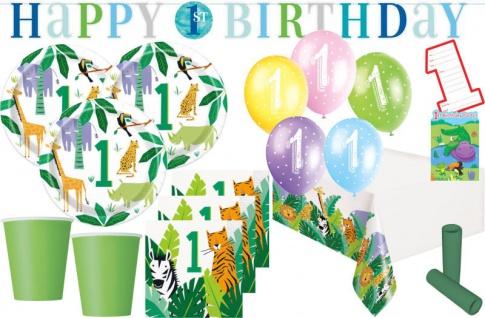 XL 48 Teile Safari Dschungel Party Party Deko Set zum 1. Geburtstag 8 Personen
