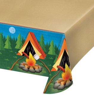 Plastik Tischdecke Lagerfeuer, Zelten und Angeln