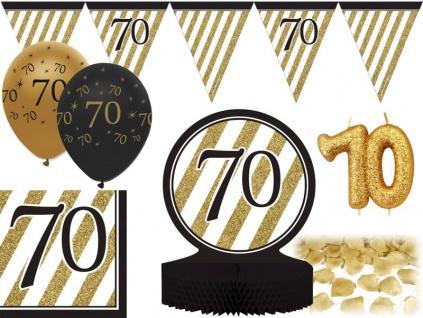 26 Teile Dekorations Set zum 70. Geburtstag oder Jubiläum - Party Deko in Schwarz & Gold