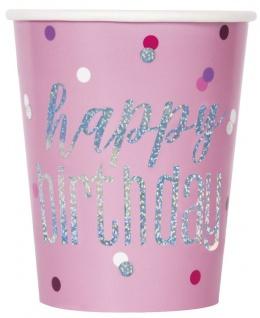 8 Papp Becher Pink Dots Glitzer Happy Birthday