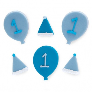 6 Zuckerfiguren blaue Ballons zum 1. Geburtstag