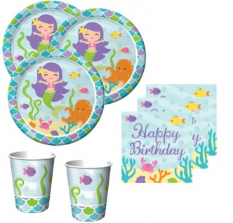 48 Teile Kleine Meerjungfrau Geburtstags Basis Party Deko Set für 16 Personen - Kindergeburtstag