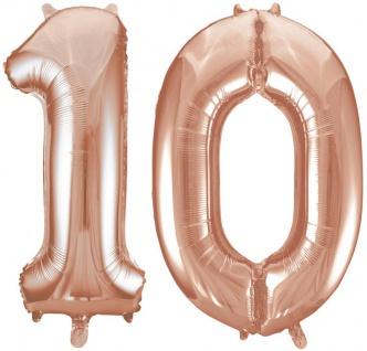 Folien Ballon Zahl 10 in Rosegold - XXL Riesenzahl 86 cm zum 10. Geburtstag Jubiläum