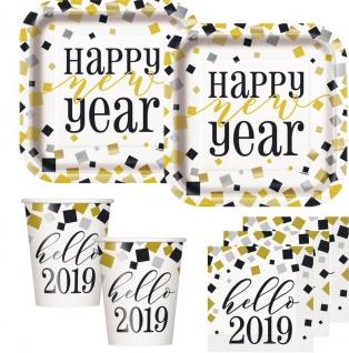 32 Teile glitzerndes Silvester und Neujahrs Deko Set 8 Personen - Hello 2019