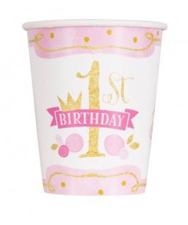 8 Becher 1. Geburtstag Rosa und Gold