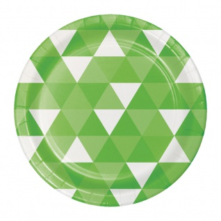 8 kleine Papp Teller Fractals Limonen Grün