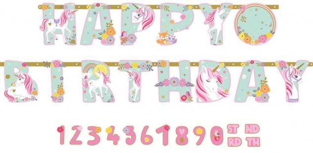 XXL Geburtstags Girlande magisches Einhorn