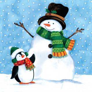 18 kleine Servietten Schneemann mit Pinguin