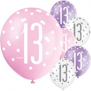 XL 36 Teile 13. Geburtstag Pink Dots Party Deko Set 8 Personen - Vorschau 4