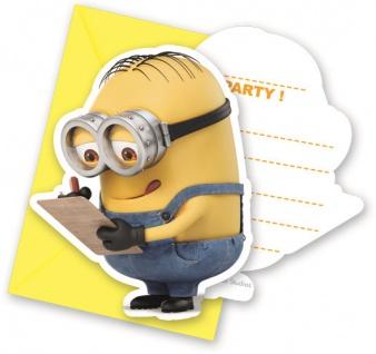 6 Einladungskarten Minions
