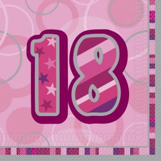 32 Teile zum 18. Geburtstag Glitzer Party Set in Pink für 8 Personen - mit Glitzer Effekt! - Vorschau 4