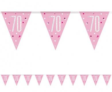 Wimpel Girlande Pink Dots Glitzer zum 70. Geburtstag