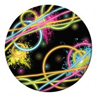 8 kleine Papp Teller Knicklicht Neon Raver Party