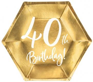 6 Papp Teller zum 40. Geburtstag Gold Metallic