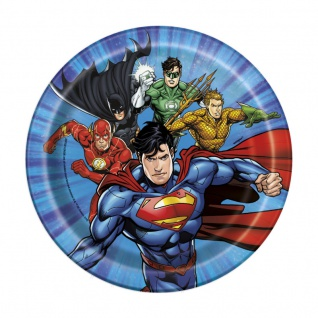 8 kleine Papp Teller Justice League