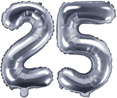 Folienballons Zahl 25 Silber Metallic 35 cm