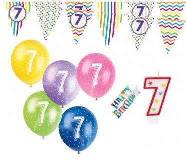 7. Geburtstag Girlande + Luftballons + Kerze Deko Set mit Kuchen Stecker