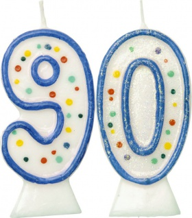 Glitzer Zahlenkerzen in Blau mit bunten Punkten 90