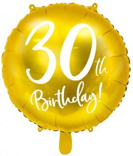 Folien Ballon zum 30. Geburtstag in Gold Metallic
