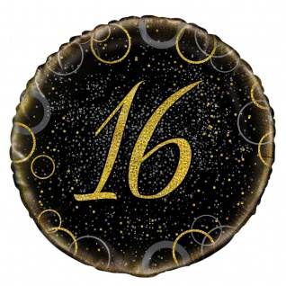 16. Geburtstag Folien Ballon Schwarz Gold