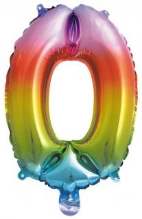 Folienballon Zahl 0 Regenbogen Metallic 40 cm