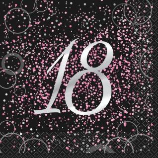 18. Geburtstag 16 Servietten in Schwarz Pink foliert