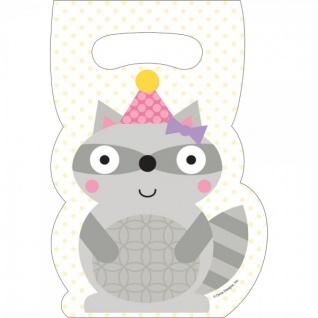 8 Party Tütchen kleiner Waschbär Rosa