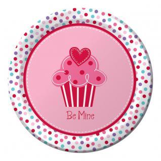 8 kleine Papp Teller Muffin Herzchen zum Valentins Tag