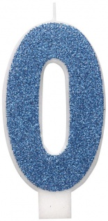 Glitzer Zahlenkerze 0 in Blau