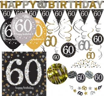 XL 38 Teile zum 60. Geburtstag Gold Glitzer für 16 Personen